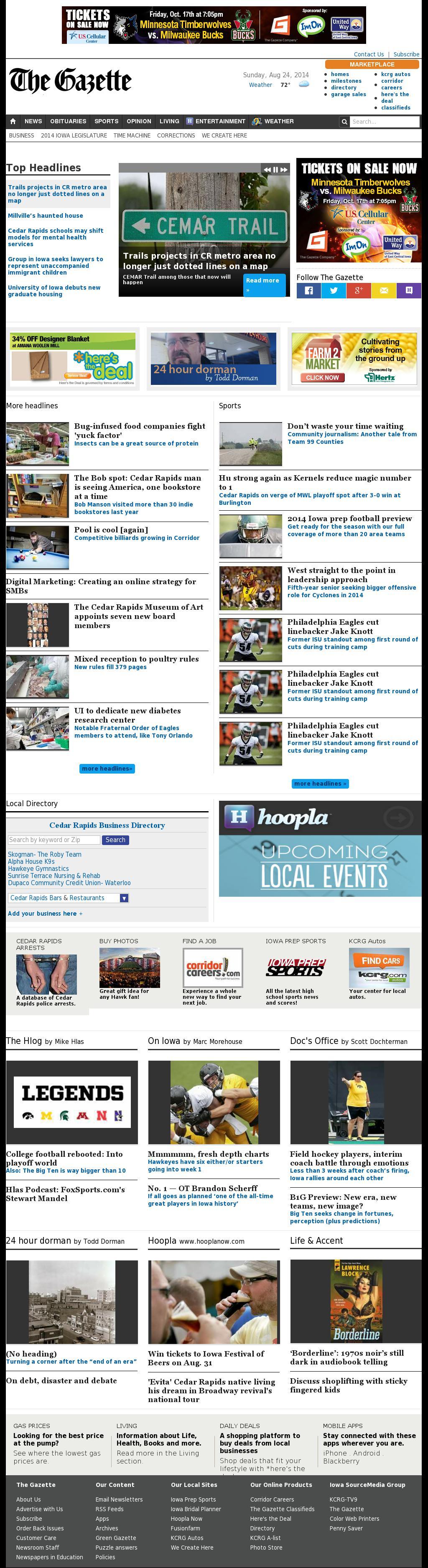The (Cedar Rapids) Gazette at Sunday Aug. 24, 2014, 2:07 p.m. UTC