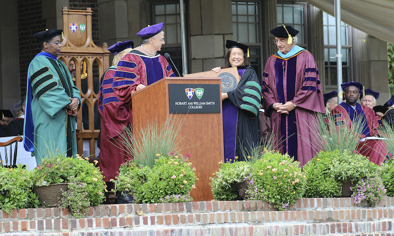 A CORONATION AT THE COLLEGES: Dr. Joyce P. Jacobsen celebrates inauguration ceremony, becoming the next HWS president