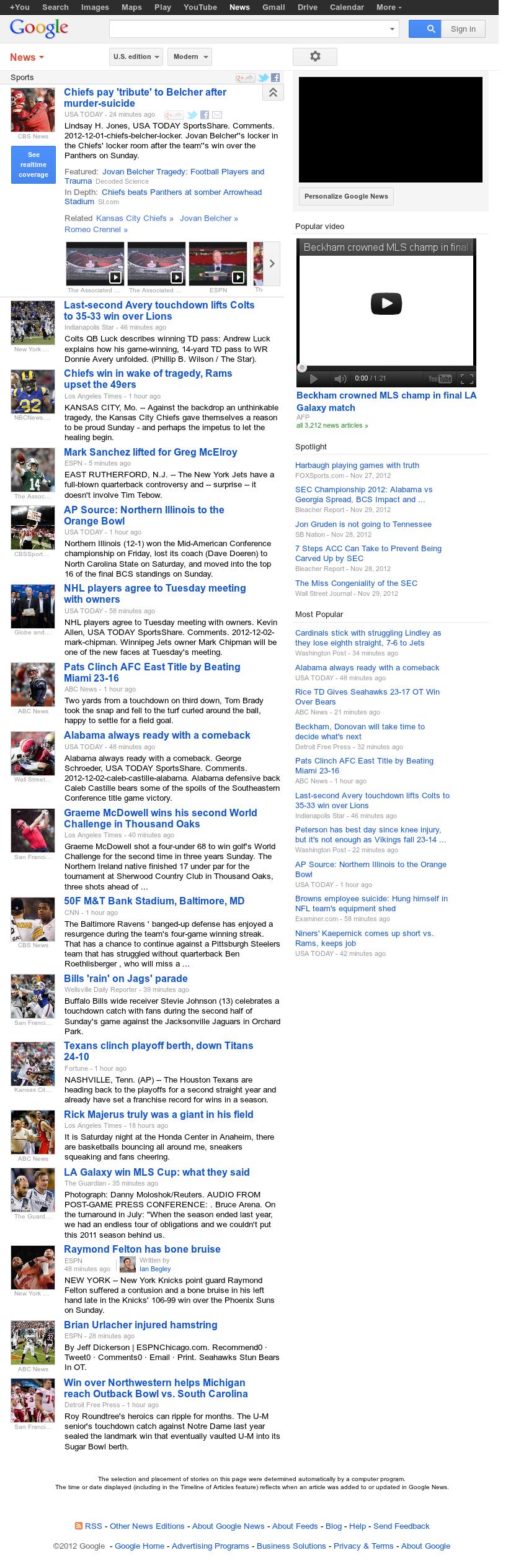 Google News: Sports at Monday Dec. 3, 2012, 12:12 a.m. UTC
