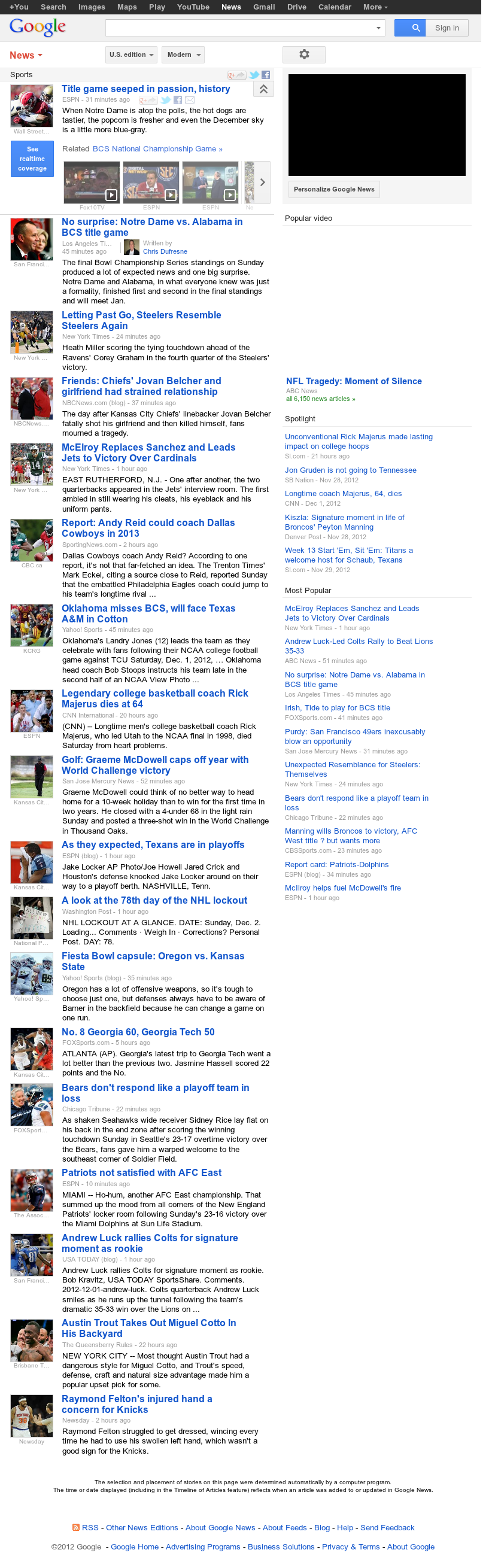 Google News: Sports at Monday Dec. 3, 2012, 3:13 a.m. UTC